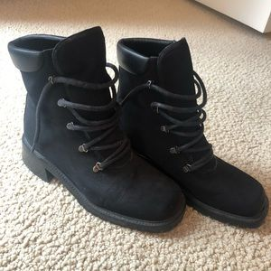 Stuart Weizmann Black Fabric Lace Up Combat Boots